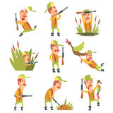 Hunter In Different Funny Situations Set Of Illustrations. Comic Character In Funky Stylized Design And His Hunting Hobby. Flat Vector Cartoon Illustration On Royalty Free Stock Image
