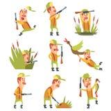 Hunter In Different Funny Situations uppsättning av illustrationer Royaltyfri Bild