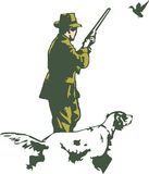 Hunter with dog. An Adobe Illustrator file showing a hunter with his dog Royalty Free Stock Photos