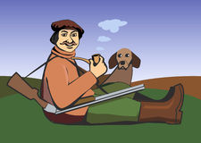 Hunter with a dog. Illustration of a sitting hunter with a pipe, gun and a dog Stock Photography