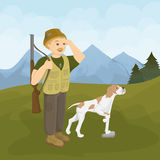 Hunter With Dog Image libre de droits