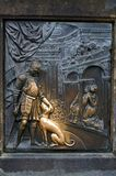 Bas-relief on the Charles Bridge in Prague. Czech Republic. Stock Image