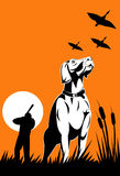 Hunter and dog game hunting. Vector illustration on the great outdoor sport of bird hunting done in retro style