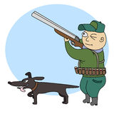 Hunter with dog. Illustration of funny hunter with a rifle and dog Royalty Free Stock Photography