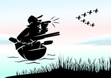 Hunter on ducks. Hunter with decoy attracts ducks in a vector Royalty Free Stock Photography