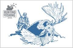 Hunter and elk - vintage illustration Royalty Free Stock Photo