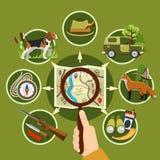 Hunter And Equipment Concept professionnel illustration libre de droits