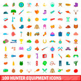 100 hunter equipment icons set, cartoon style. 100 hunter equipment icons set in cartoon style for any design illustration Royalty Free Stock Photography