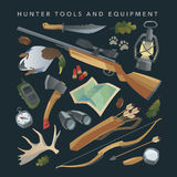 Hunter equipment set. Vector. Stock Photography