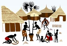 Hunter, everyday African family life. Africa landscape background, daily life Royalty Free Stock Photos