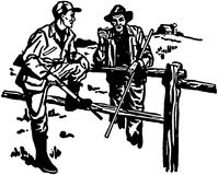 Hunter And Farmer Chatting ilustração royalty free