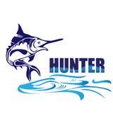 Hunter fish logo. Fish water waves logo design vector eps10 Royalty Free Stock Images