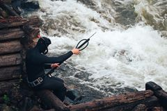 Hunter Fisherman Charges a Speargun Stock Images