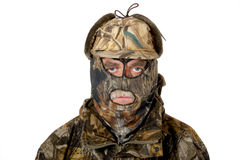 Hunter full face. A man in the hunting camouflage royalty free stock images