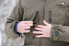 Hunter getting cartridges stock photos