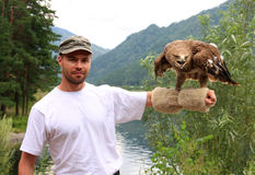 Hunter with a golden eagle. Hunter with a golden eagle (Aquila chrysaetos). Altai Royalty Free Stock Photography