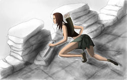 Hunter in gray skirt. Colored picture of demon hunter in skirt in diablo concept Royalty Free Stock Photography