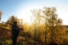 Hunter at dawn. A hunter with a gun in the forest at dawn Stock Photography