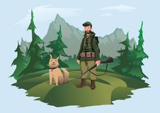 Hunter with gun and dog. Huntsman standing in the forest against a mountain landscape. Vector illustration, isolated on. Hunter with gun and happy dog. Huntsman Stock Photography