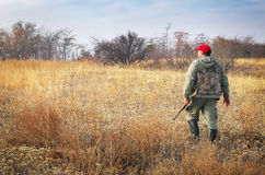 Hunter with a gun. Hunter moving with shotgun looking for prey. Hunter with a gun. Hunting for hare Royalty Free Stock Photos