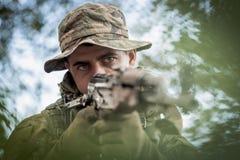 Hunter with gun Stock Photos