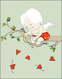 Hunter hearts. Angel sitting on a branch and looking at flying hearts Stock Illustration