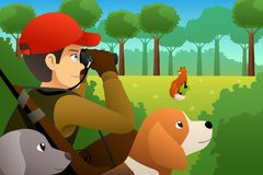 Hunter With His Dog Hunting un Fox illustration de vecteur