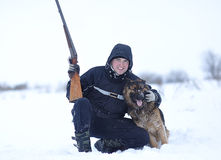 Hunter with his dog Stock Photo
