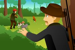 Hunter With His Dogs Hunting un Fox illustration libre de droits