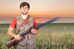 Hunter with his rifle Royalty Free Stock Photo