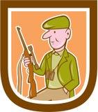 Hunter Holding Rifle Shield Cartoon ilustración del vector
