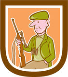 Hunter Holding Rifle Shield Cartoon Stock Photos