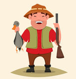 Hunter holding rifle and shot duck. Happy cheerful smiling cartoon character. Man in hat and with beard. Stock Photos