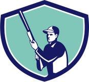 Hunter Holding Shotgun Rifle Crest Retro Stock Photo