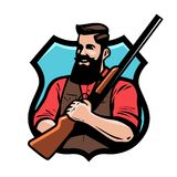 Hunter holds shotgun in his hands. Gun shop, hunting, hunt concept. Cartoon vector illustration. Hunter holds shotgun in his hands. Gun shop, hunting, hunt Royalty Free Stock Photo