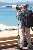 The hunter hunted, paparazzi in Cannes Stock Photos