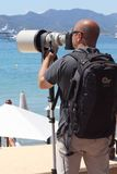The hunter hunted, paparazzi in Cannes Royalty Free Stock Photos