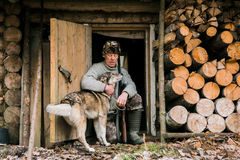 Hunter with a hunting dog Royalty Free Stock Photography