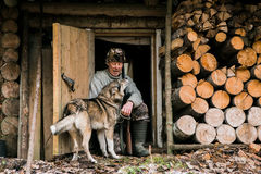 Hunter with a hunting dog Royalty Free Stock Image