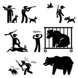Hunter and Hunting Dog. A set of pictograms representing a hunter and his dog hunting in a wild Stock Photo