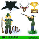 Hunter illustrations Stock Photo