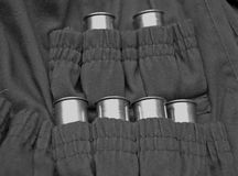 Hunter jacket  with ammunition cartridges Stock Images