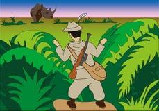 Hunter in jungle Stock Photo