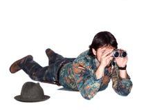 Hunter looking through binoculars Stock Images