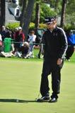 Hunter Mahan. PGA professional golfer Hunter Mahan lining up a putt Royalty Free Stock Photos