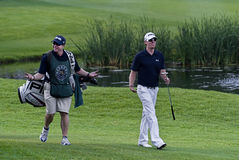 Hunter Mahan & Caddie on the 18th Stock Photography