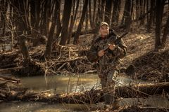 Hunter man forest river with shotgun during hunting season stock images