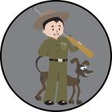 Hunter Man och hund stock illustrationer