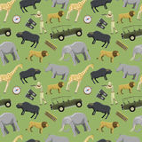 Hunter man shotgun and africa exotic safari wild animals hunting sport vector illustration seamless pattern background Royalty Free Stock Images