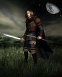 Hunter in the Moonlight. Digital render of a hunter with bow and sword standing in moonlit grasslands Stock Images